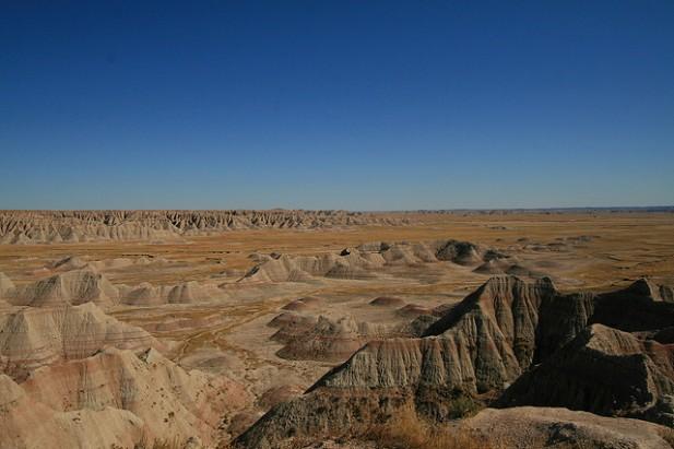 Foto panorâmica do Badlands National Park.