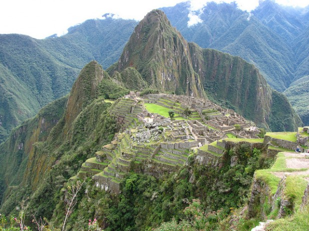Foto panorâmica de Machu Picchu.