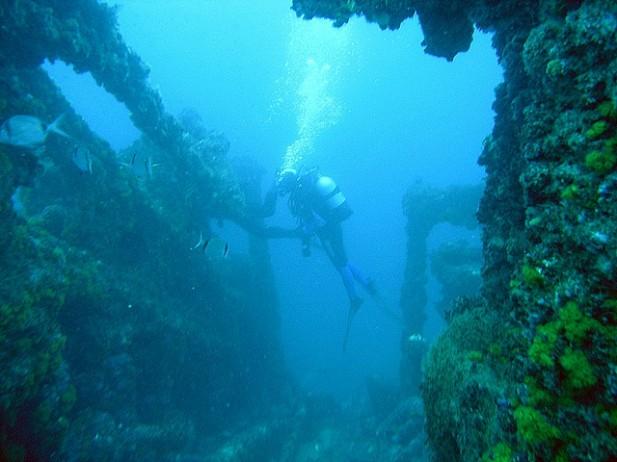 Foto de mergulhadores em San Andrés.