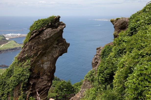 Foto de panorâmica sobre o mar em Jeju Island na Coreia do Sul.