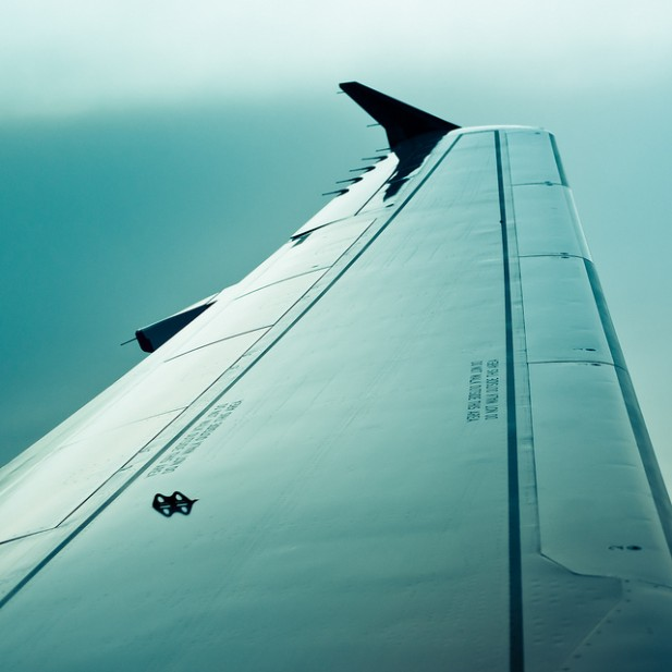 Foto de asa de avião.