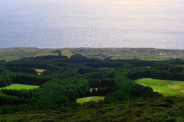 Foto de paisagem com natureza, povoação e mar na Ilha Terceira.