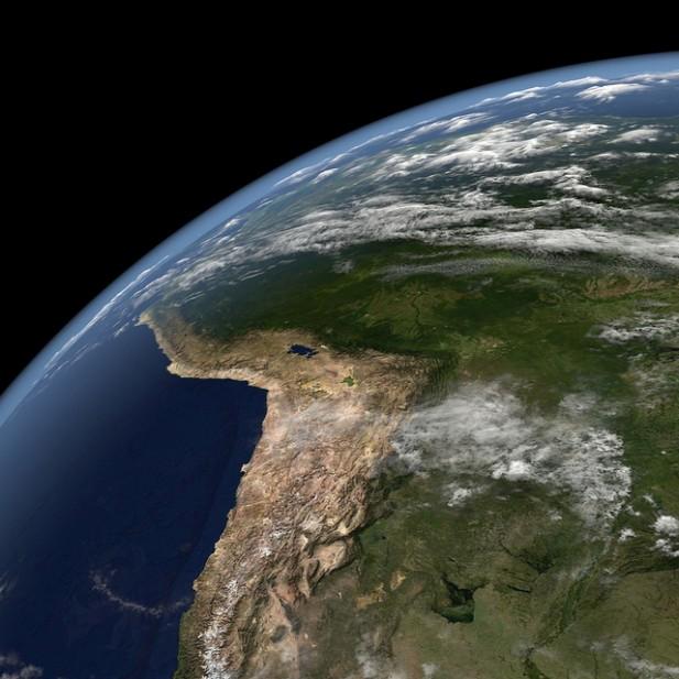 Foto do Planeta Terra visto do Espaço.